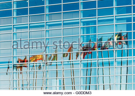 European Union countries flags reflected in Europe - Stock Photo