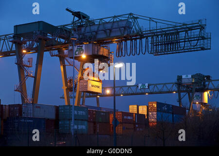 Dortmund Port CTD with container gantry crane - Stock Photo