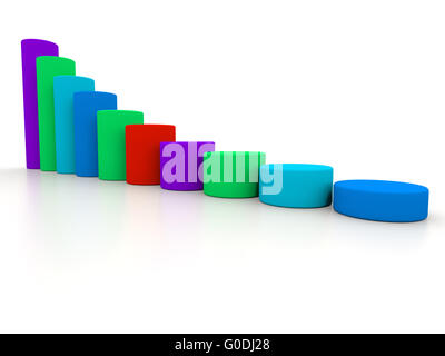 chart success of the cylinders on a white background in different colors. 3d - Stock Photo