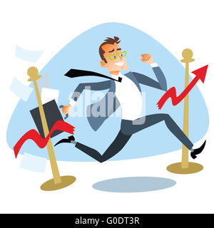 Businessman running breaks the finish tape sales schedule - Stock Photo