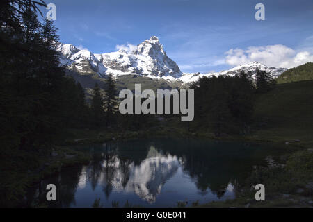 reflection of Matterhorn - Stock Photo