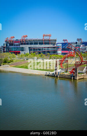 View Across The Cumberland River In Downtown Nashville TN Towards The NFL  Team Titansu0027 Nissan
