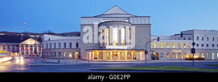 wuppertal Opera House in Barmen at blue hour - Stock Photo