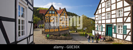 half-timbered houses of Hagen Open-air Museum - Stock Photo