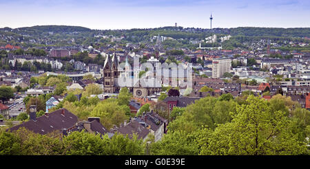 panoramic view onto Elberfeld, Wuppertal - Stock Photo
