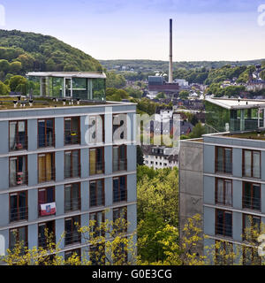 view from the university onto wuppertal - Stock Photo