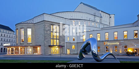Wuppertal Opera House in Barmen with sculpture - Stock Photo