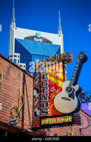 The Legends Corner, a treasure of a honky tonk, has it's iconic Neon Guitar Sign outside on lower Broadway in Nashville, TN