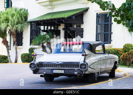 White american vintage car parked - Stock Photo