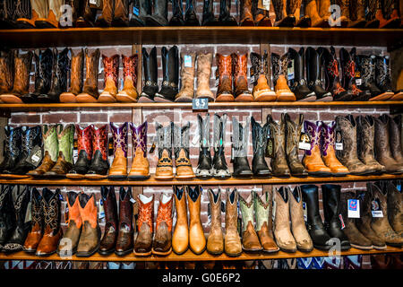 Rows of Cowboy Boots in a western clothing store. Banff, Alberta ...