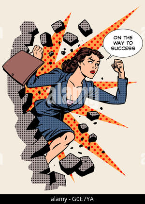 Business success businesswoman breaks the wall - Stock Photo