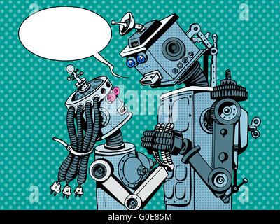 couple robots man woman love - Stock Photo