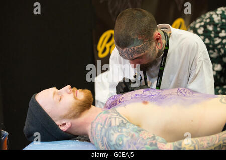 Brighton UK 30th April 2016- Brighton Tattoo Convention Credit:  Jason Richardson/Alamy Live News - Stock Photo