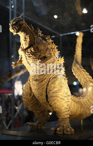 Chiba, Japan. 30th Apr, 2016. A Godzilla figure for the new movie 'Shin Godzilla' is displayed for the promotion of the movie which will be screening in July during the Niconico Chokaigi in Chiba on Saturday, April 30, 2016. Some 150,000 visitors enjoyed over 100 booths including games, hobbies, sports, politics as well as Japan's sub cultures at the two-day offline meeting sponsored by Japan's video sharing website 'Niconico Douga'. © Yoshio Tsunoda/AFLO/Alamy Live News