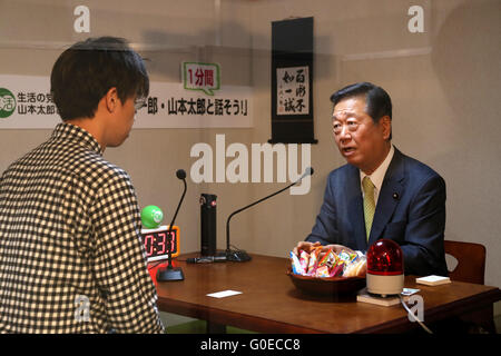 Chiba, Japan. 30th Apr, 2016. Japan's opposition People's Life Party leader Ichiro Ozawa has dialogue with a visitor during the Niconico Chokaigi in Chiba on Saturday, April 30, 2016. Some 150,000 visitors enjoyed over 100 booths including games, hobbies, sports, politics as well as Japan's sub cultures at the two-day offline meeting sponsored by Japan's video sharing website 'Niconico Douga'. © Yoshio Tsunoda/AFLO/Alamy Live News