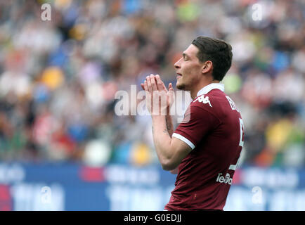 Udine, Italy. 30th April, 2016. Torino's forward Andrea Belotti reacts during the Italian Serie A football match - Stock Photo