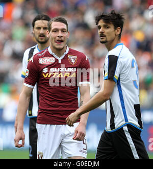 Udine, Italy. 30th April, 2016. during the Italian Serie A football match between Udinese Calcio v Torino FC on - Stock Photo