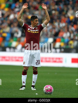 Udine, Italy. 30th April, 2016. Torino's midfielder Giuseppe Vives  gestures during the Italian Serie A football - Stock Photo