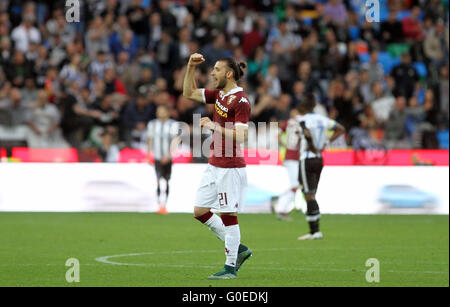Udine, Italy. 30th April, 2016. Torino's defender Gaston Silva reacts during the Italian Serie A football match - Stock Photo