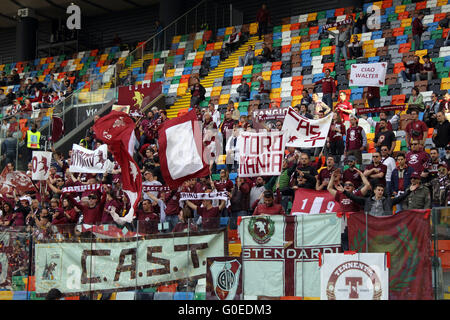 Udine, Italy. 30th April, 2016. Torino's fans during the Italian Serie A football match between Udinese Calcio v - Stock Photo