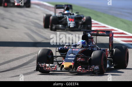 Sochi, Russia. 1st May, 2016. Belgian-Dutch racing driver Max Verstappen (front) of the Scuderia Toro Rosso F1 team - Stock Photo