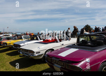 Eastbourne, UK, 1st May 2016. UK weather.  Car enthusiasts gather in the spring sunshine for the Eastbourne Magnificent - Stock Photo