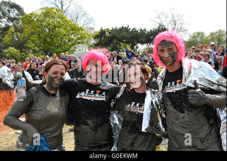 Maldon, Essex, UK. 1st May, 2016. Competitors looking happy after finishing the annual Maldon Mud Race in Maldon, - Stock Photo