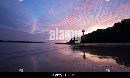 Sunset on the Elbe River near Wittenb. Lighthouse - Stock Photo