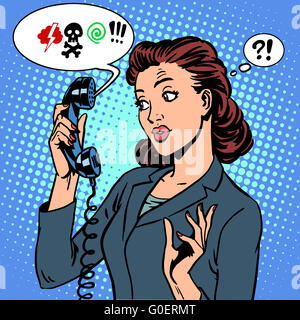 Dangerous talk phone communication viruses business woman abuse - Stock Photo