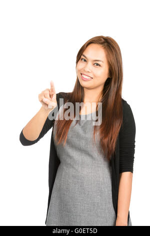Asian Woman Pressing Touchscreen Interface At - Stock Photo