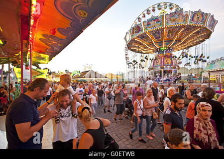 Many People at Cranger Kirmes fair, Herne, Germany - Stock Photo