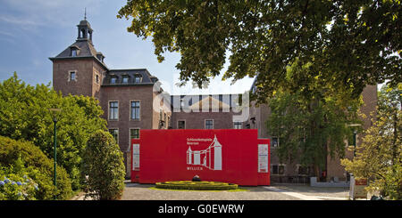 castle Neersen, courtyard with festival stage - Stock Photo