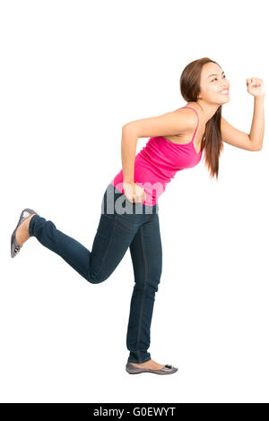 Running Asian Woman Chasing Object Side Profile - Stock Photo