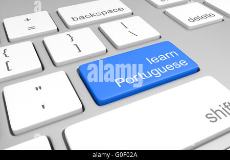 Learn Portuguese key on a computer keyboard for online classes to speak, read, and write the language, 3D rendering - Stock Photo