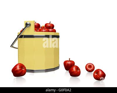 Apples in Wood Pail Bucket - Stock Photo