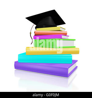 Graduation Cap on a Pile of Colorful Books - Stock Photo