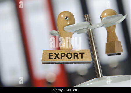 export printed on rubber stamp - Stock Photo