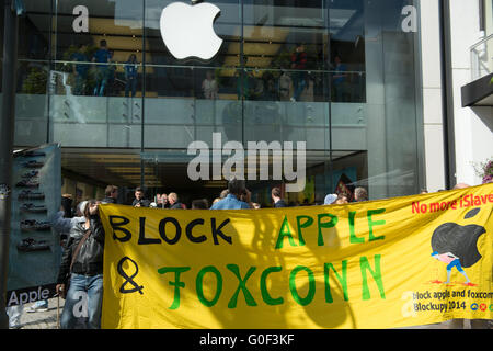 Protest against Apple and Foxcon - Stock Photo