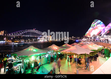 Sydney Harbour Bridge and the Opera House during Vivid Festival, Circular Quay, Sydney Harbour, New South Wales, - Stock Photo