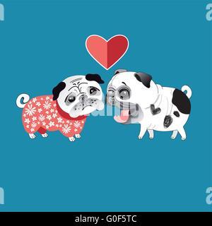Love dogs pugs - Stock Photo