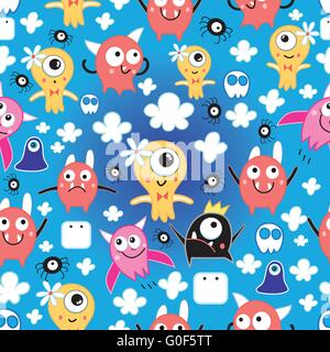 pattern funny monsters - Stock Photo