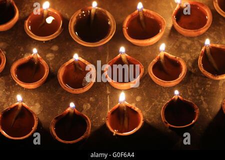 indian clay oil lamps, festival season - Stock Photo
