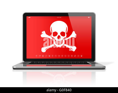 Laptop with a pirate symbol on screen. Hacking concept - Stock Photo