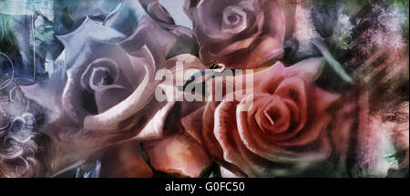 hand painted roses motif with textures added digitally - Stock Photo