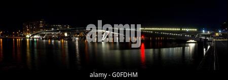 Night Panoramic View On The Modern Bridge In Amsterdam - Stock Photo