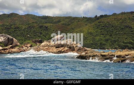 Beautiful Huge granite boulders on Praslin Island in Indian Ocean. - Stock Photo