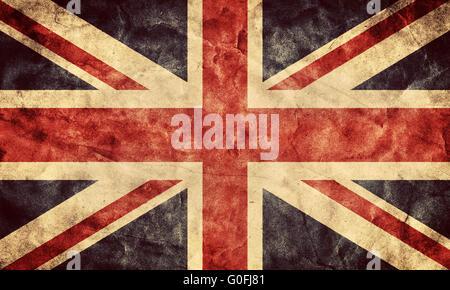 The United Kingdom or Union Jack grunge flag. Vintage - Stock Photo