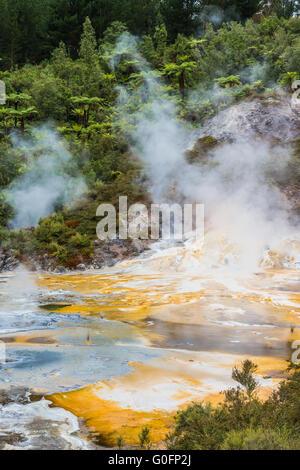 Orakei Korako geothermal Park, New Zealand - Stock Photo