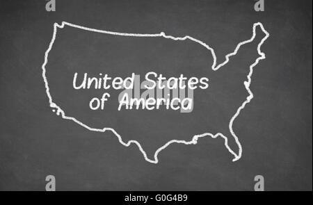 United States Map Drawn On Chalkboard Stock Photo Royalty Free - Us map chalkboard