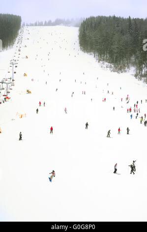 Ski resort in the snowfall - Stock Photo